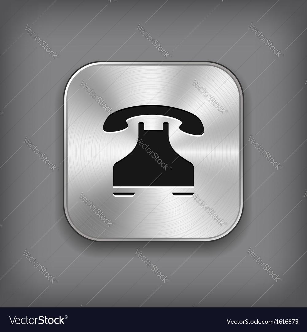 Phone icon - metal app button vector | Price: 1 Credit (USD $1)