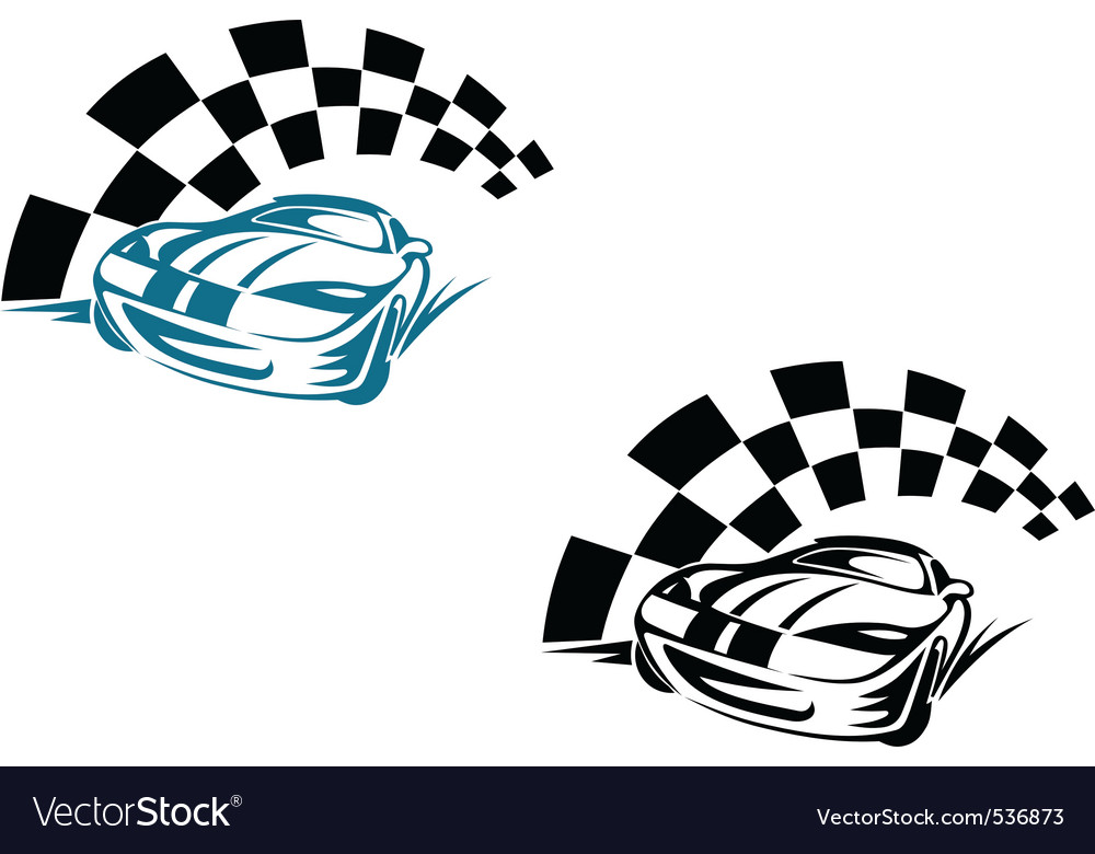 Racing cars and symbols for sports or tattoo desig vector | Price: 1 Credit (USD $1)