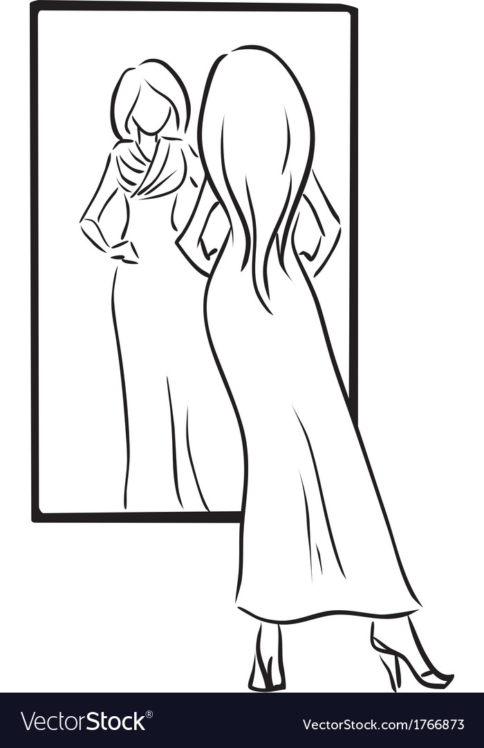 Series shopping young girl tries on a dress vector | Price: 1 Credit (USD $1)