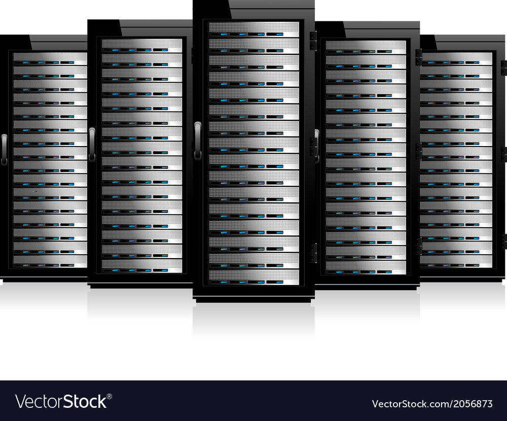 Servers in a row vector | Price: 1 Credit (USD $1)