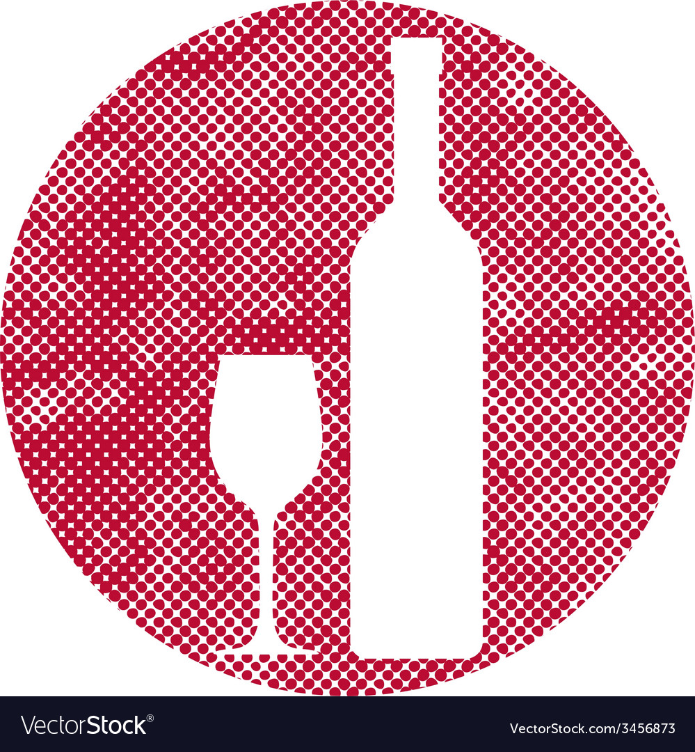 Wine icon with pixel print halftone dots texture vector | Price: 1 Credit (USD $1)