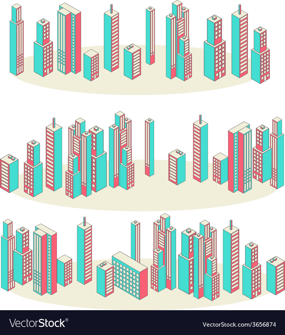 Banners set of three cityscape background vector | Price: 1 Credit (USD $1)