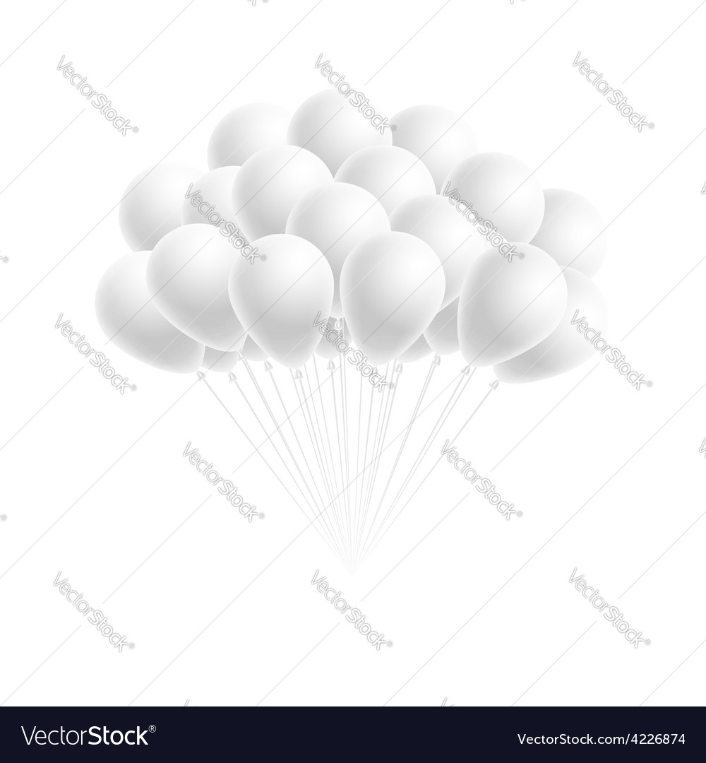 Bunch birthday or party white balloons vector | Price: 1 Credit (USD $1)