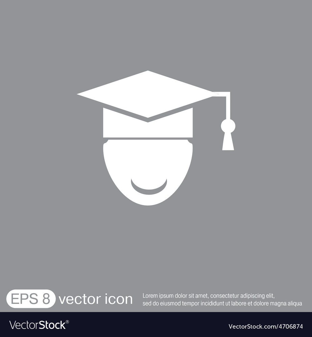 Graduate hat avatar symbol icon college or vector | Price: 1 Credit (USD $1)