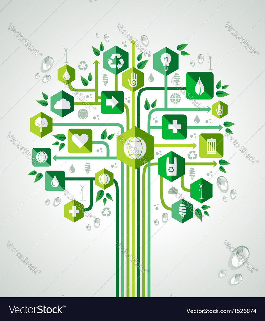 Green flat icons technology tree vector | Price: 1 Credit (USD $1)