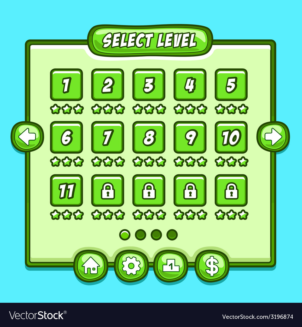 Green game level select icons buttons vector | Price: 1 Credit (USD $1)