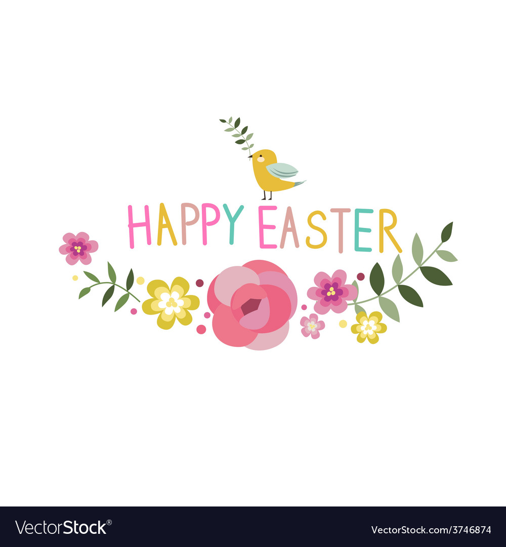 Happy easter floral design with bird vector | Price: 1 Credit (USD $1)