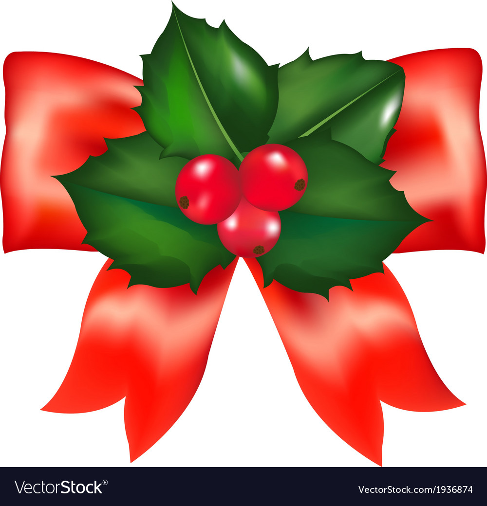Red bow with holly berry vector | Price: 1 Credit (USD $1)
