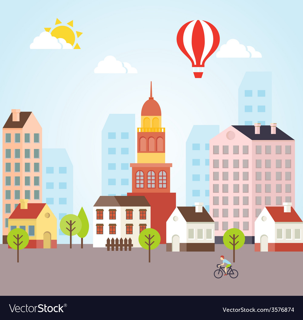 Seamless sunny town landscape background vector   Price: 1 Credit (USD $1)