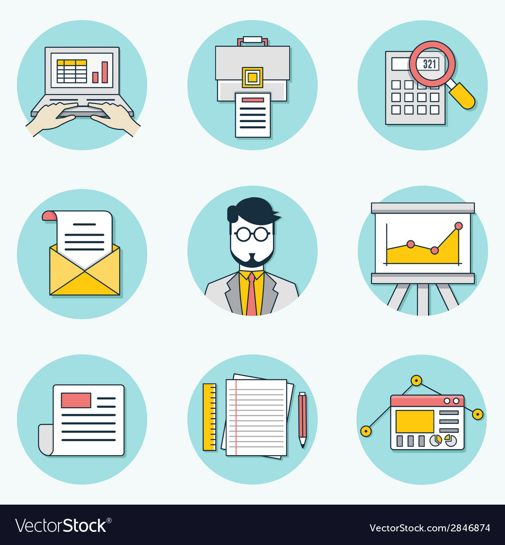 Set of data analytics icons for business - part 2 vector | Price: 1 Credit (USD $1)