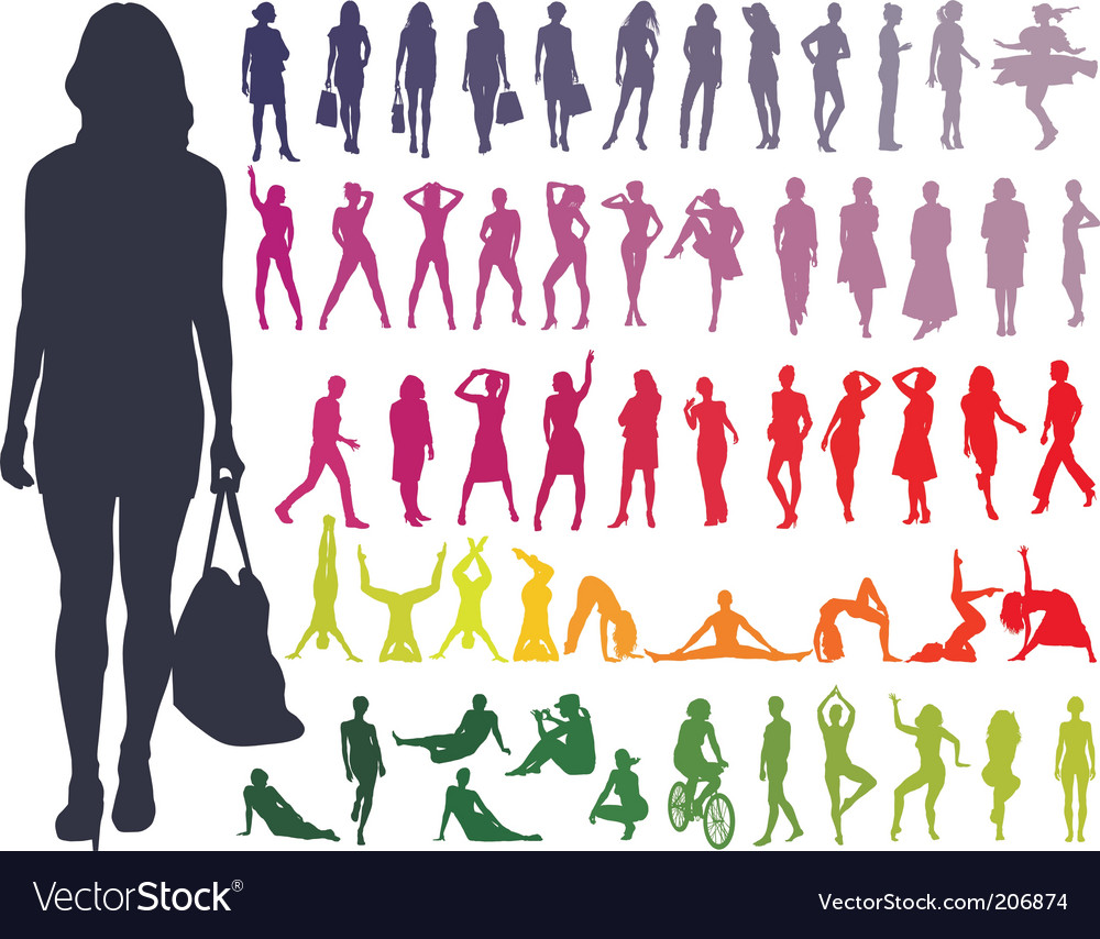 Silhouettes women vector   Price: 1 Credit (USD $1)