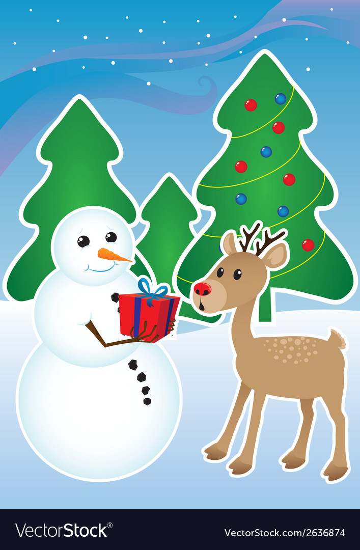 Snowman and reindeer vector | Price: 1 Credit (USD $1)