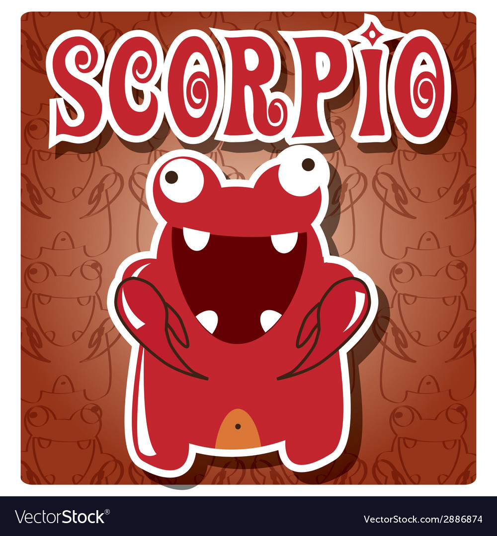 Zodiac sign scorpio with cute colorful monster vector | Price: 1 Credit (USD $1)