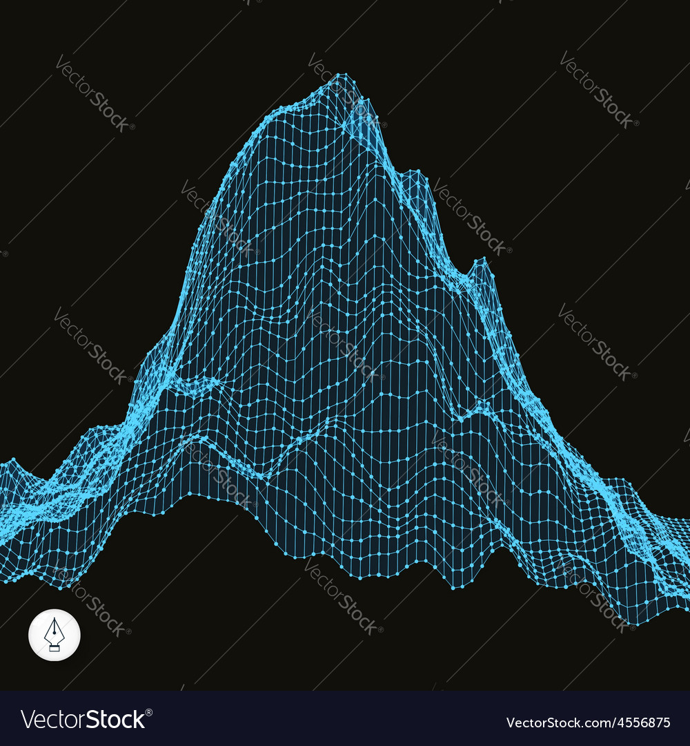 Abstract landscape background cyberspace grid vector | Price: 1 Credit (USD $1)