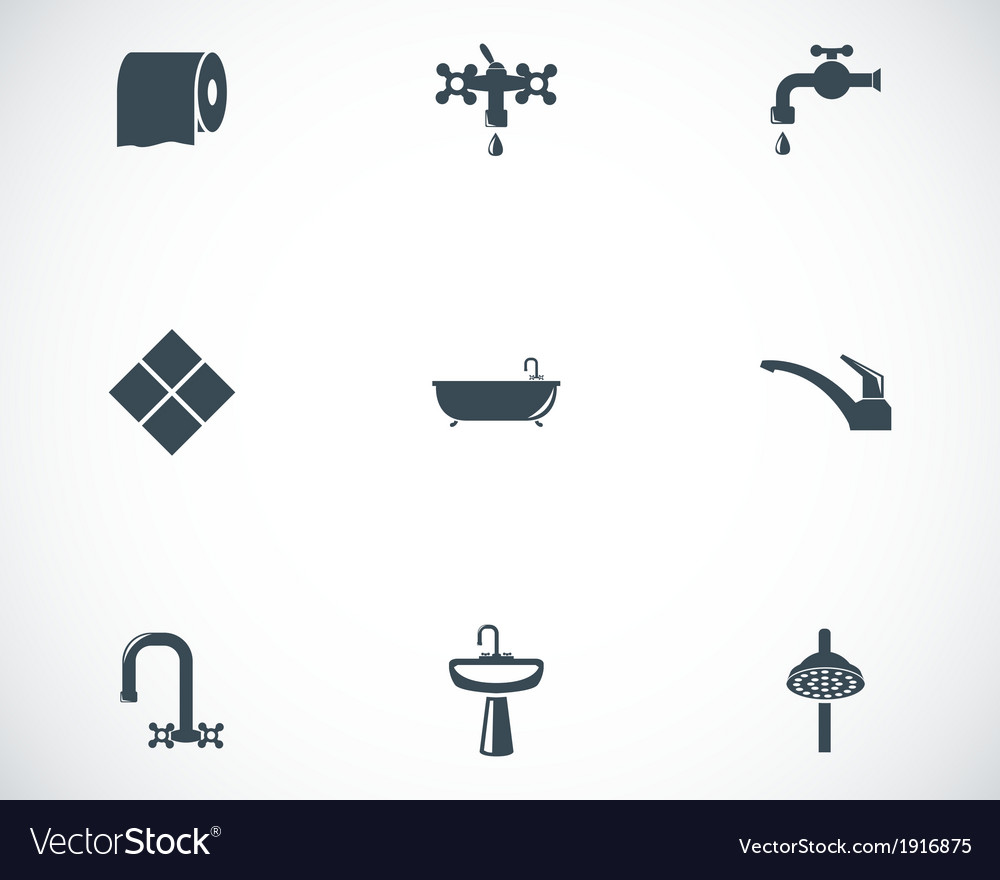 Black bathroom icons set vector | Price: 1 Credit (USD $1)