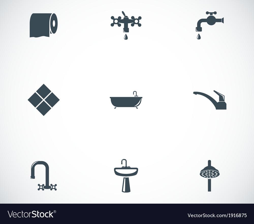 Black bathroom icons set vector | Price: 1 Credit (USD $1)
