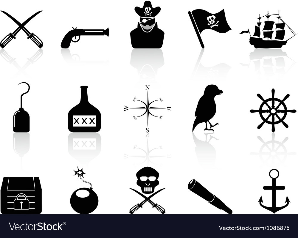 Black pirate icons set vector | Price: 1 Credit (USD $1)