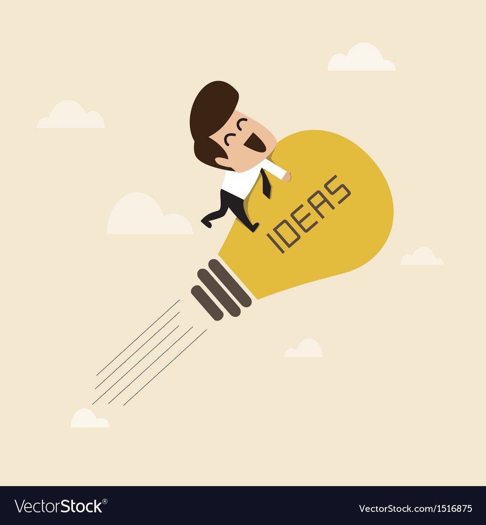 Businessman on a moving lightbulb idea rocket vector | Price: 1 Credit (USD $1)