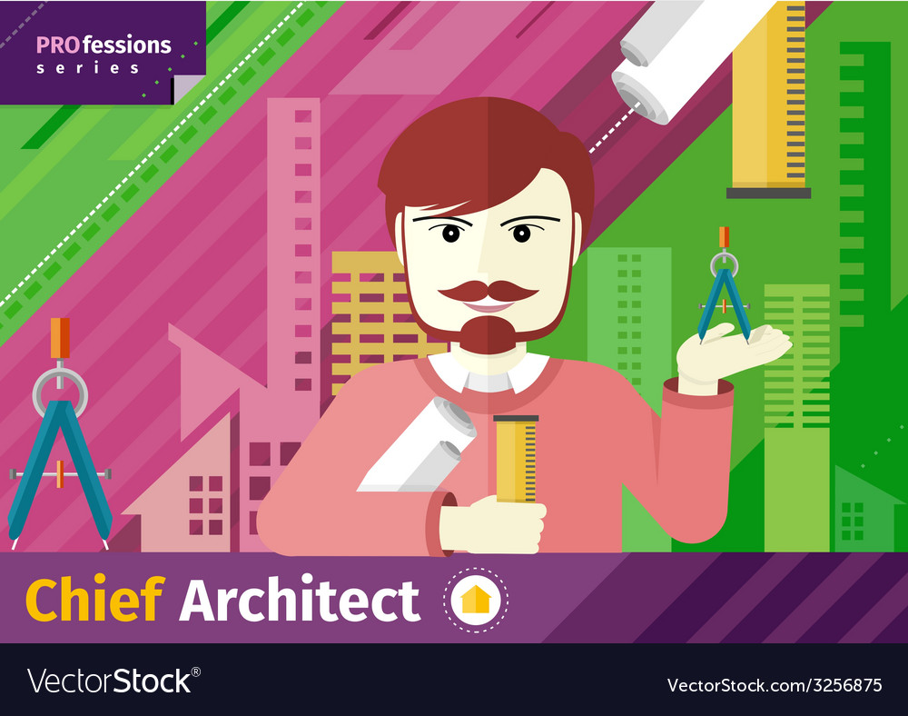 Chief architect with compasses and blueprint vector   Price: 1 Credit (USD $1)