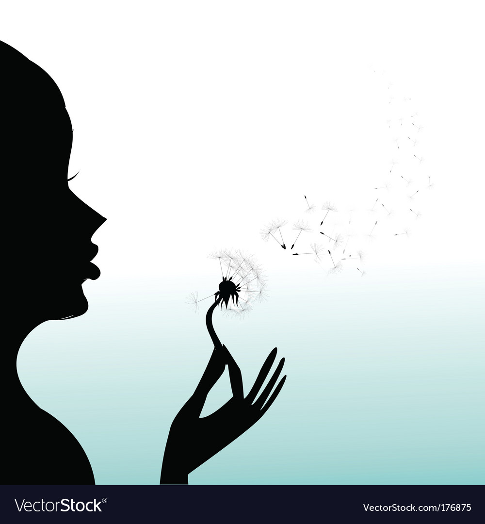 Girl blow dandelion vector | Price: 1 Credit (USD $1)