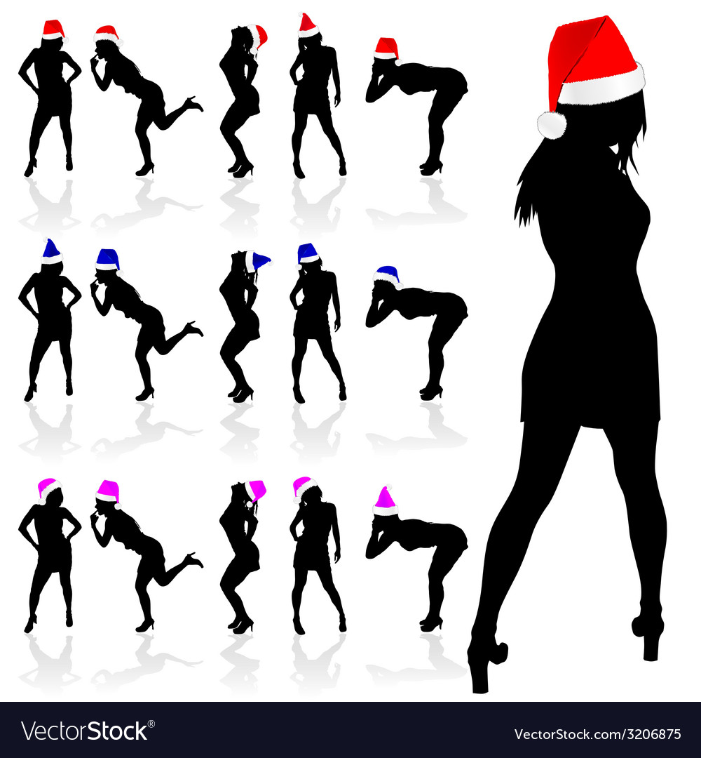 Girl with three color christmas hat vector | Price: 1 Credit (USD $1)