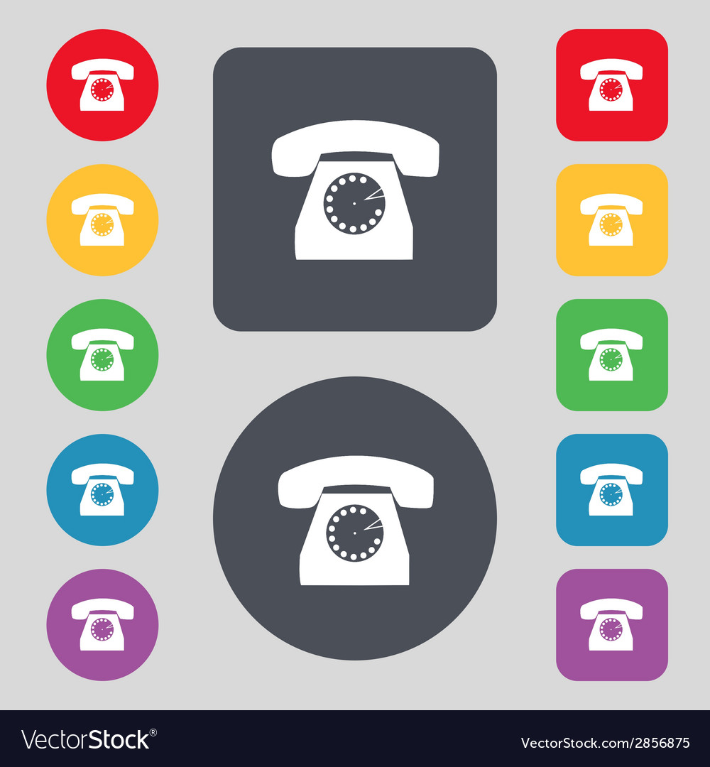 Retro telephone web icon set colourful buttons vector | Price: 1 Credit (USD $1)