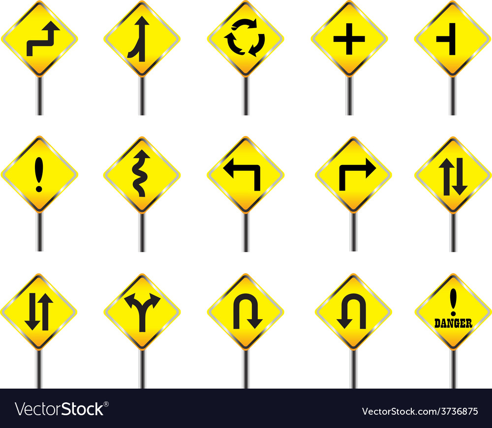 Road sign set warning vector | Price: 1 Credit (USD $1)