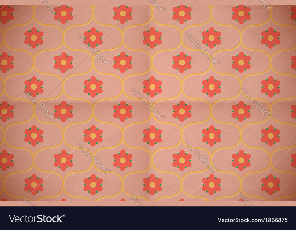 Seamless pink floral pattern on the aged cardboard vector | Price: 1 Credit (USD $1)