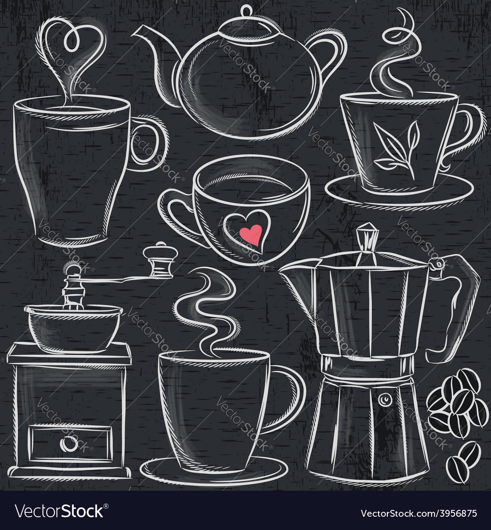 Set cup of hot drink on blackboard vector | Price: 1 Credit (USD $1)