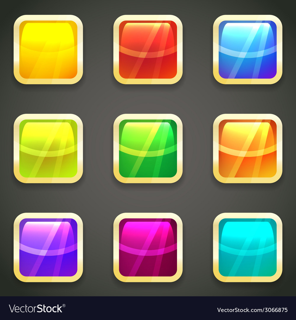 Set of vibrant bright glossy web buttons vector | Price: 1 Credit (USD $1)