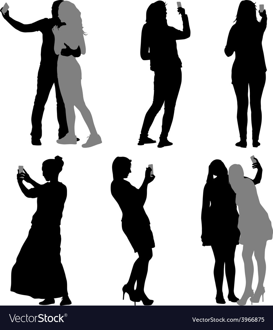 Silhouettes man and woman taking selfie with vector | Price: 1 Credit (USD $1)