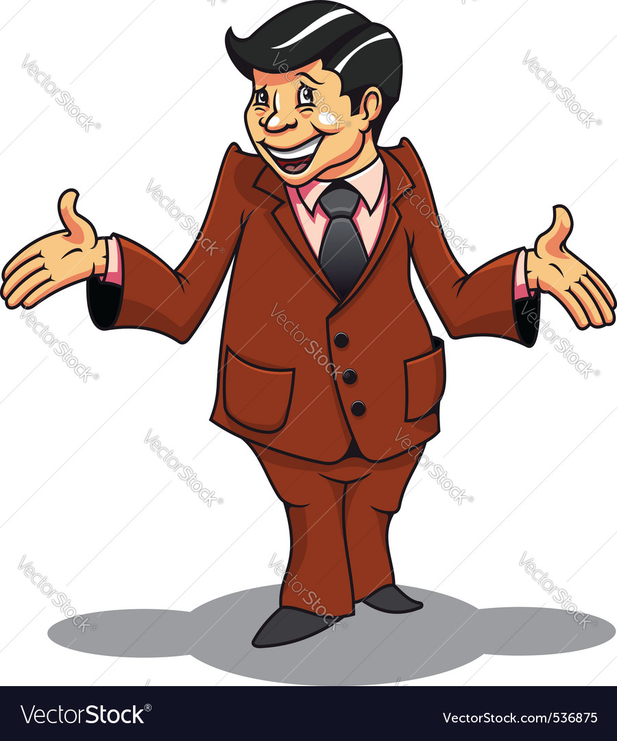Smiling businessman in cartoon style be surprised vector | Price: 3 Credit (USD $3)