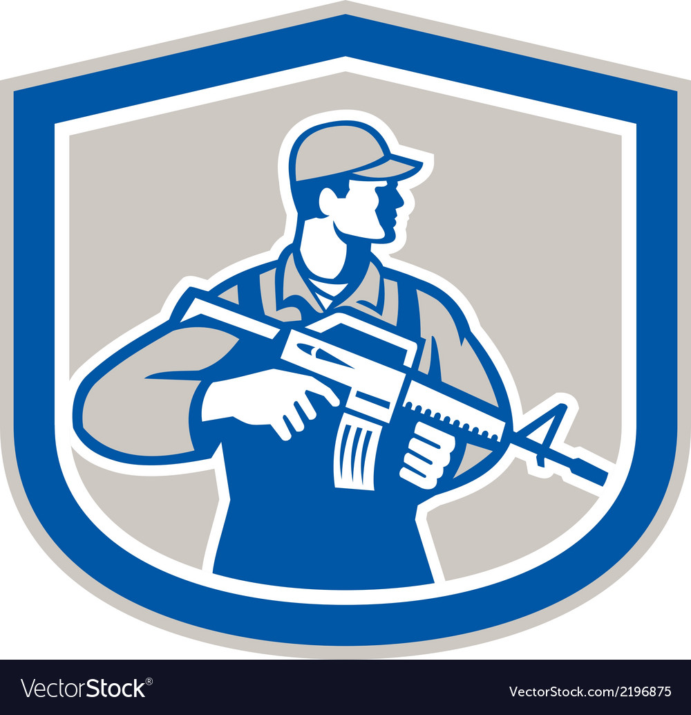 Soldier military serviceman rifle side crest retro vector | Price: 1 Credit (USD $1)