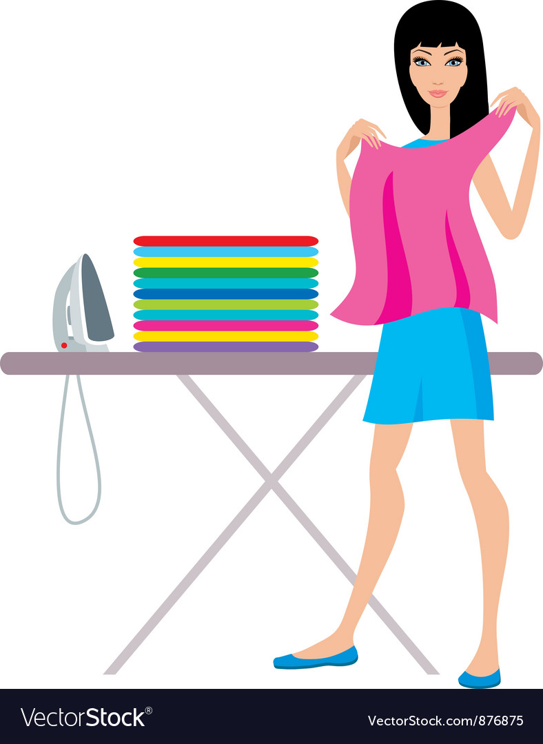 Young woman irons clothes vector | Price: 1 Credit (USD $1)