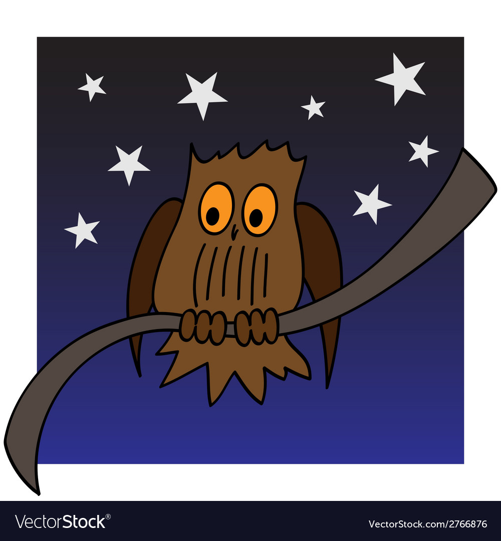An owl on a branch vector | Price: 1 Credit (USD $1)