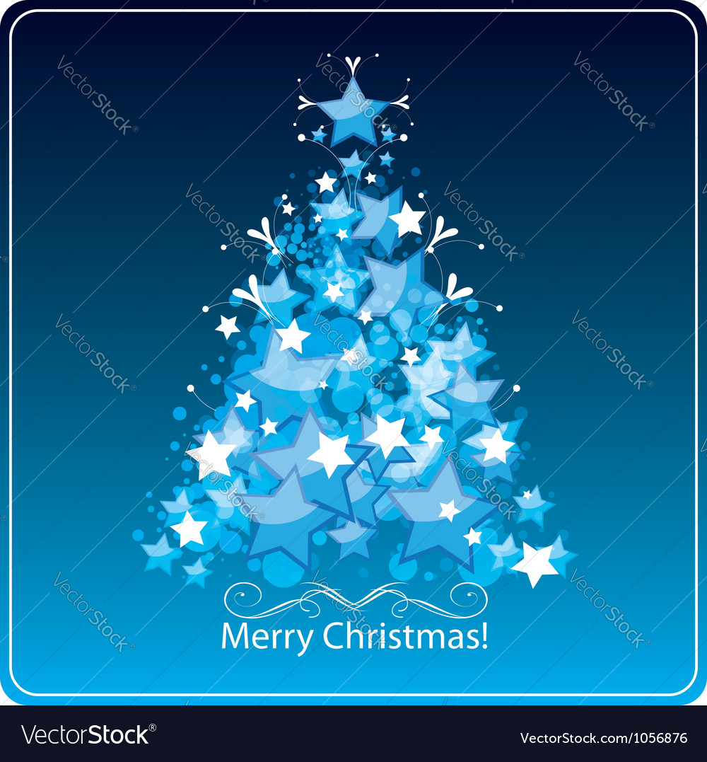 Christmas tree greetings card vector | Price: 1 Credit (USD $1)