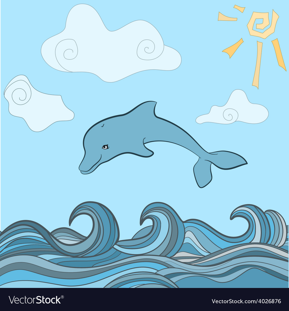 Dolphins in blue sea wave vector   Price: 1 Credit (USD $1)