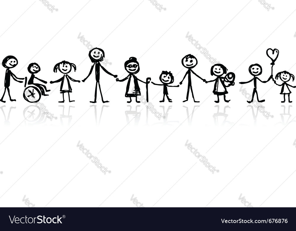 Family together sketch vector | Price: 1 Credit (USD $1)