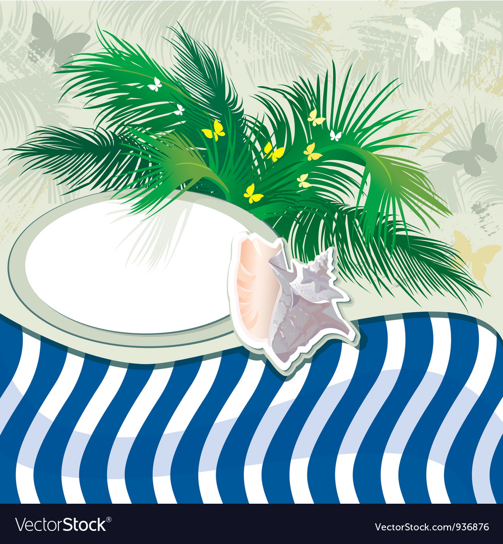 Grunge summer holiday background with palm tree vector | Price: 1 Credit (USD $1)