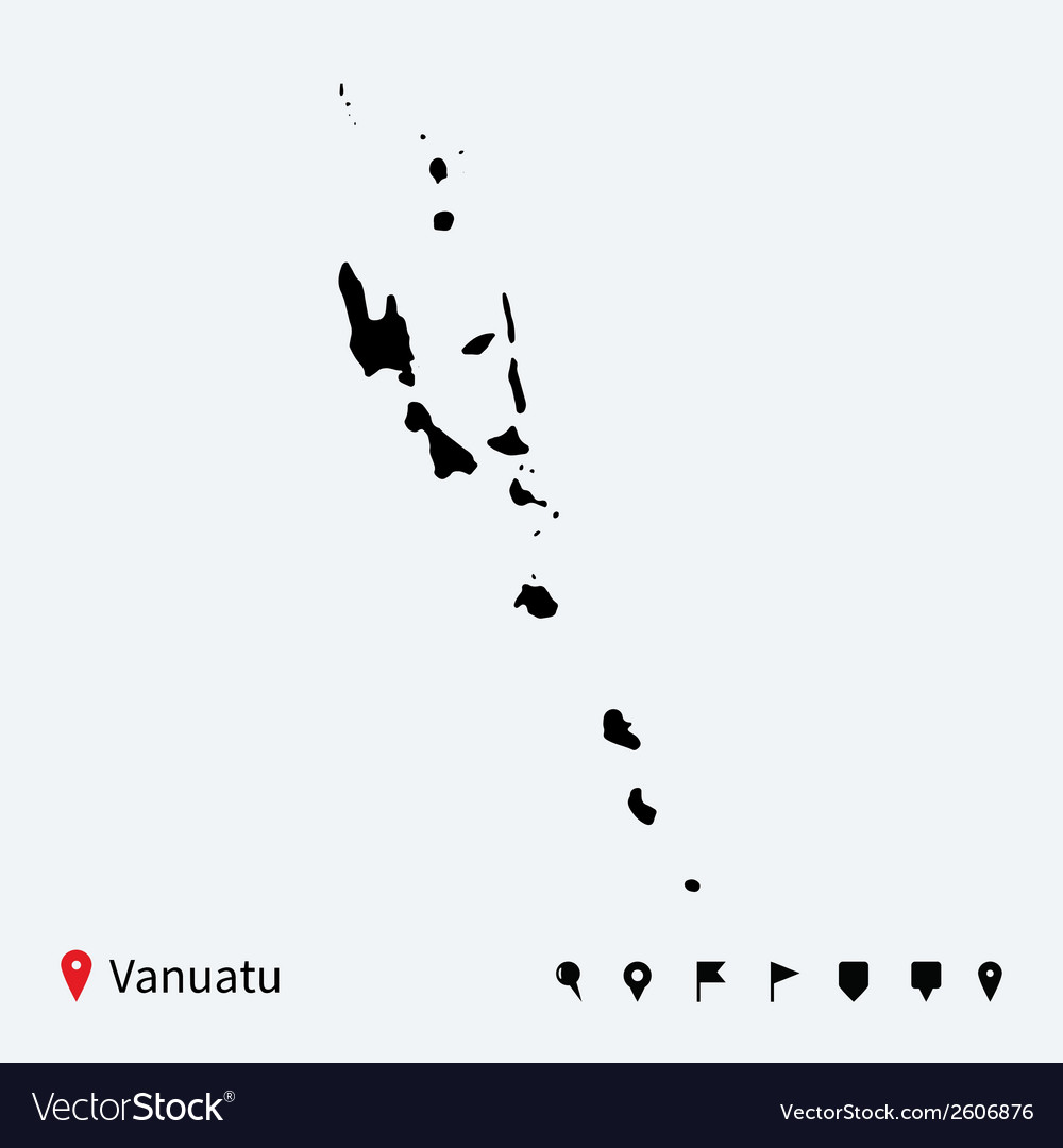 High detailed map of vanuatu with navigation pins vector | Price: 1 Credit (USD $1)