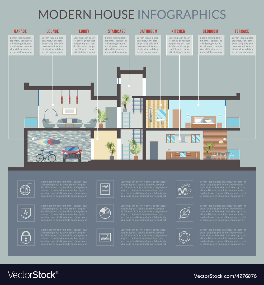 Modern house infographics vector | Price: 3 Credit (USD $3)