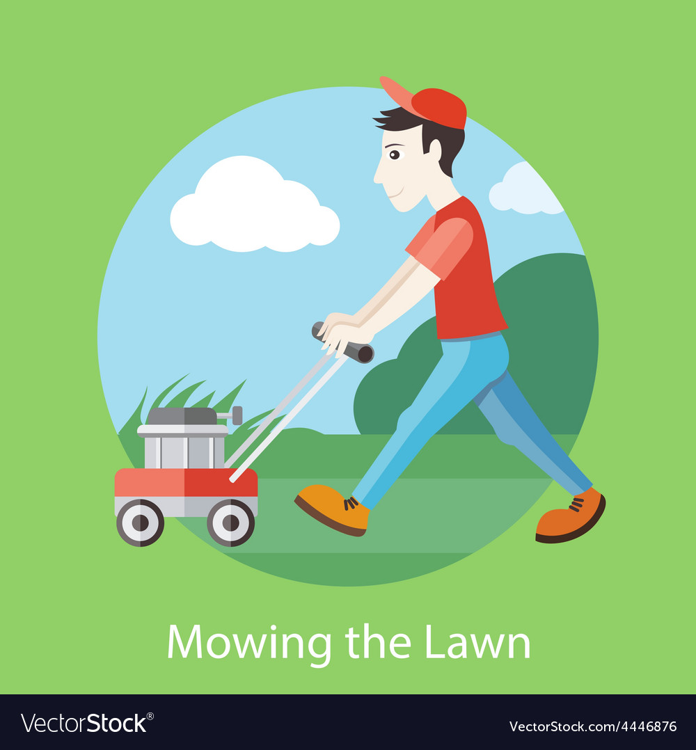 Mowing the lawn vector