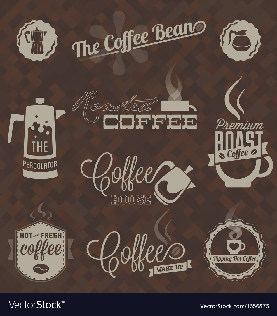 Retro coffee shop labels and symbols vector | Price: 1 Credit (USD $1)