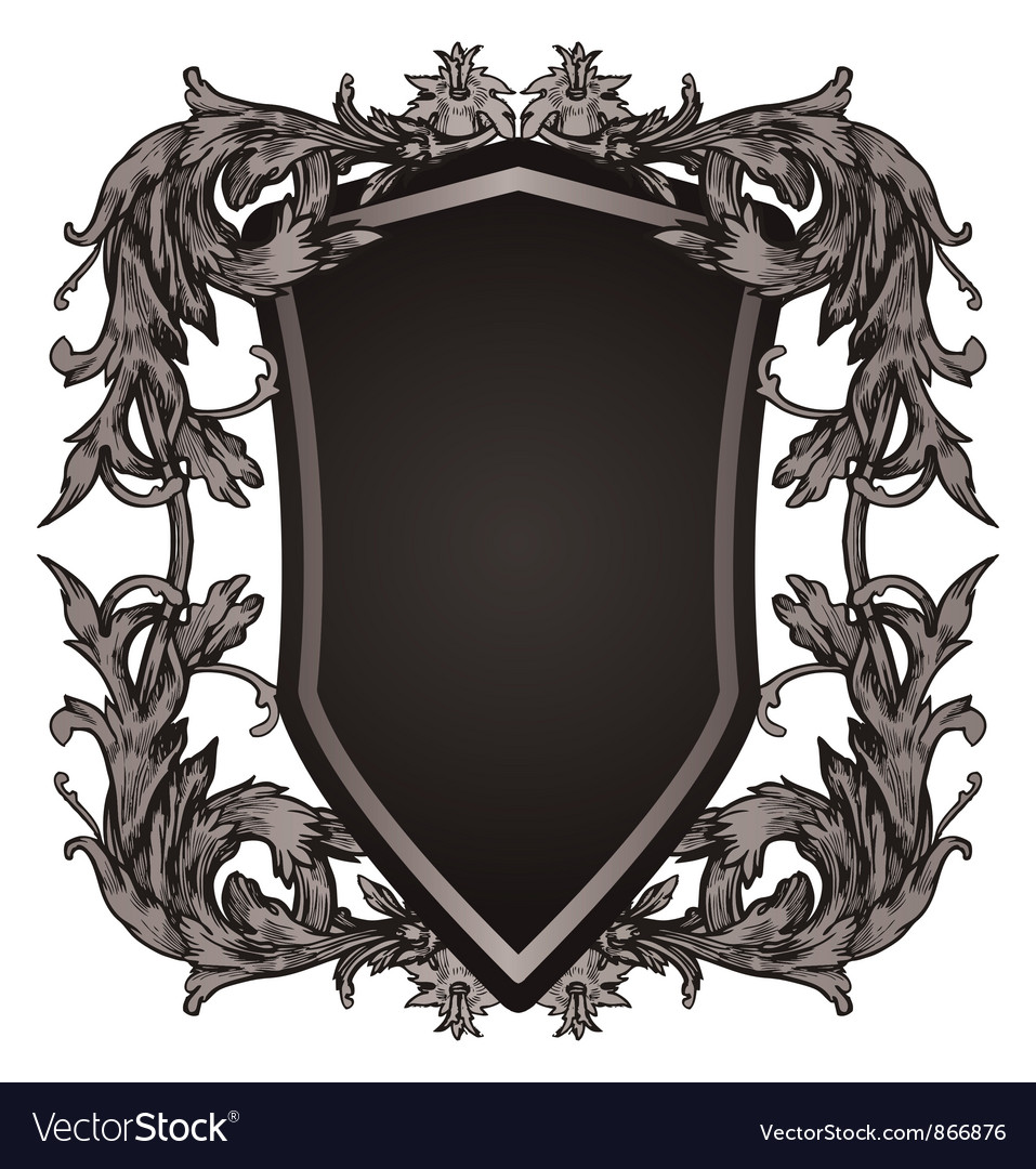 Shield with floral vector   Price: 1 Credit (USD $1)