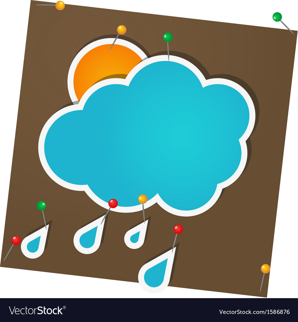 Sticker sun and clouds attached with pins vector | Price: 1 Credit (USD $1)