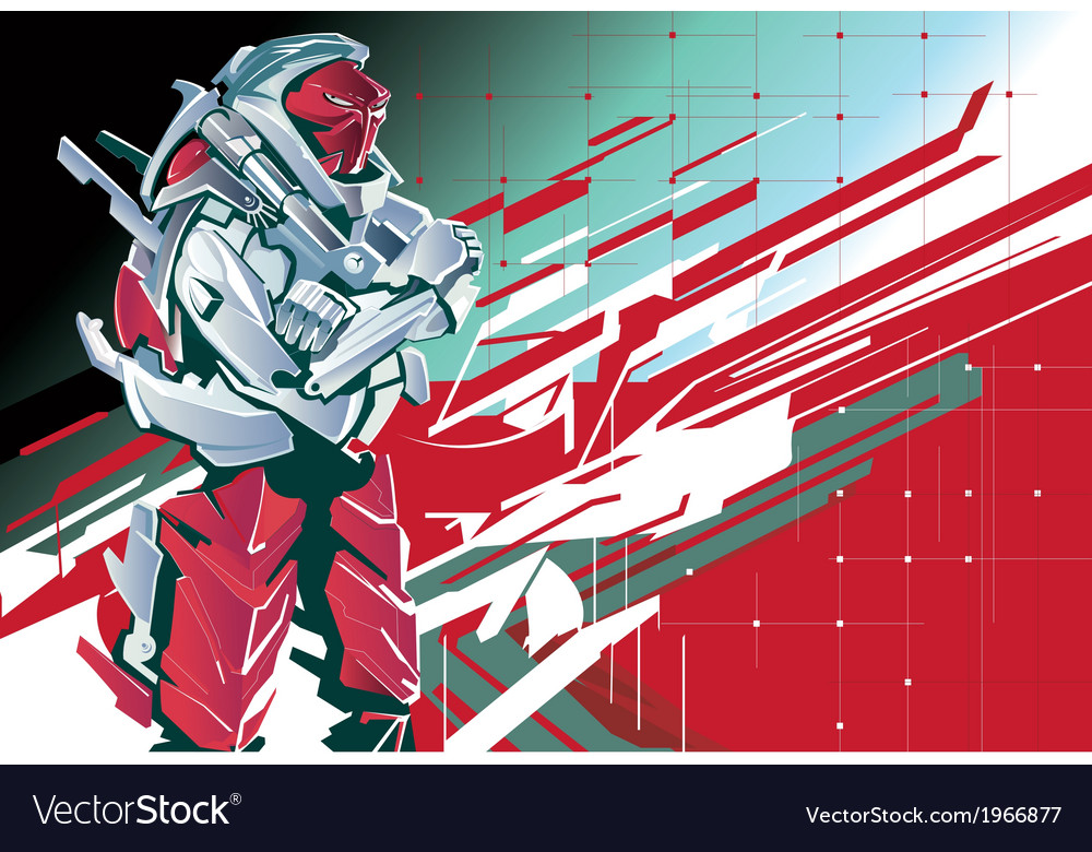 Background with the red robot vector | Price: 3 Credit (USD $3)