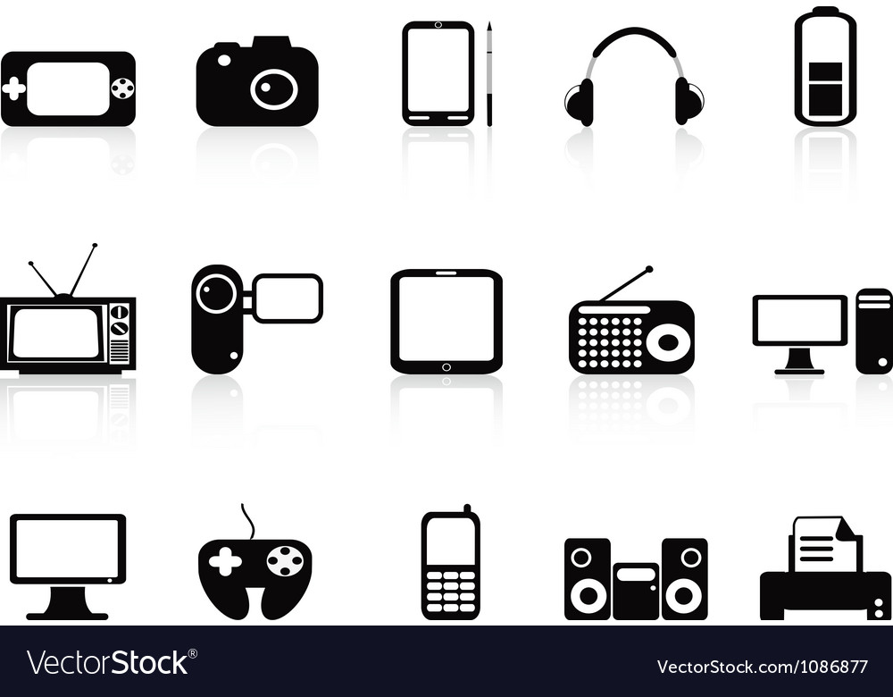 Black electronic objects icons set vector   Price: 1 Credit (USD $1)