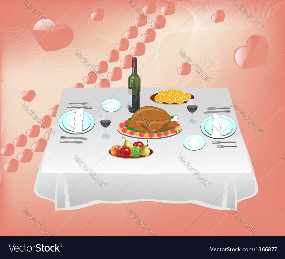 Dinner for two vector | Price: 1 Credit (USD $1)