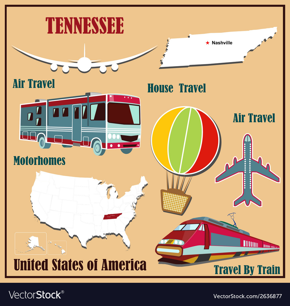 Flat map of tennessee vector | Price: 1 Credit (USD $1)