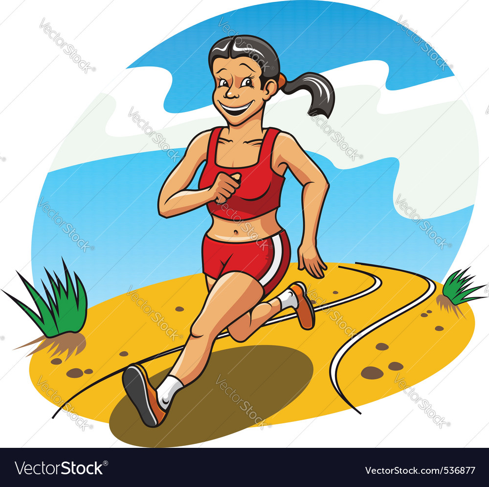 Happy and cheerful running woman for lifestyle con vector | Price: 3 Credit (USD $3)